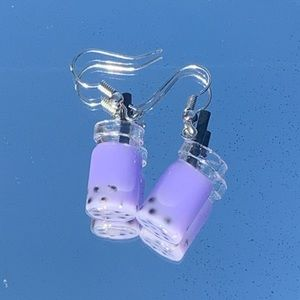 Purple Taro Boba earrings